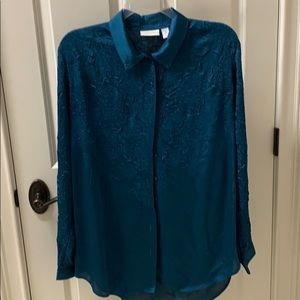 Chico's (size 3) Teal 100% Polyester Blouse
